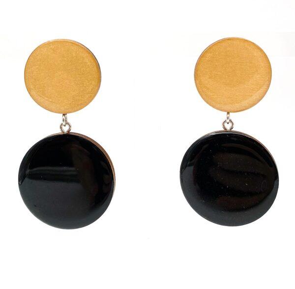 Black-Beige-Large-Double-Circle-Earrings-1