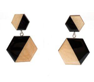 Black-Beige-Medium-Double-Sixtangle-Earrings-1