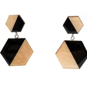 Black-Beige-Medium-Double-Sixtangle-Earrings-1