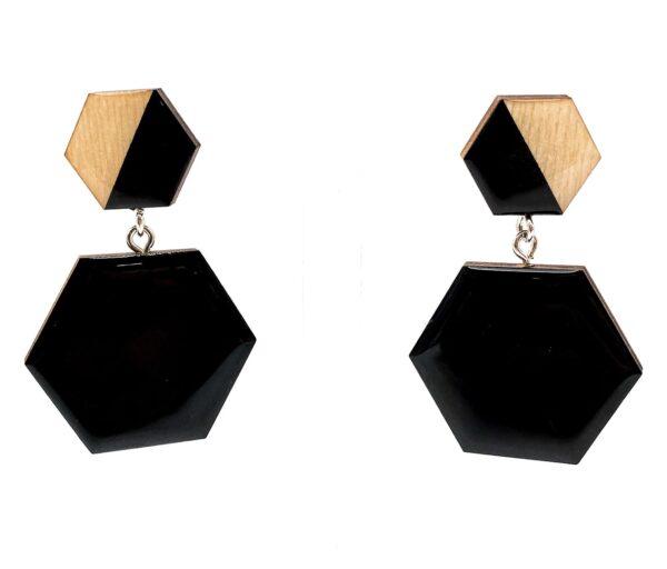 Black-Beige-Medium-Double-Sixtangle-Earrings-2