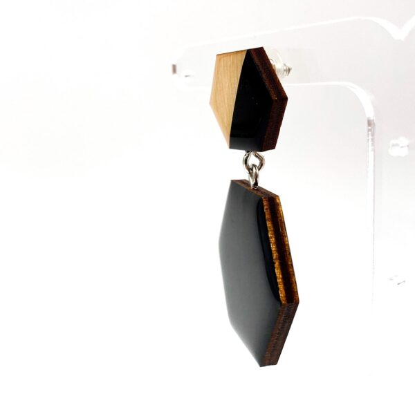 Black-Beige-Medium-Double-Sixtangle-Earrings-3